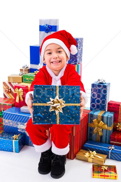 Pequeño Navidad nino regalos papá noel ofrecimiento Foto stock © icefront