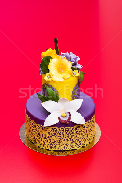 Colorful cake decorated with candy flowers and lace Stock photo © icefront