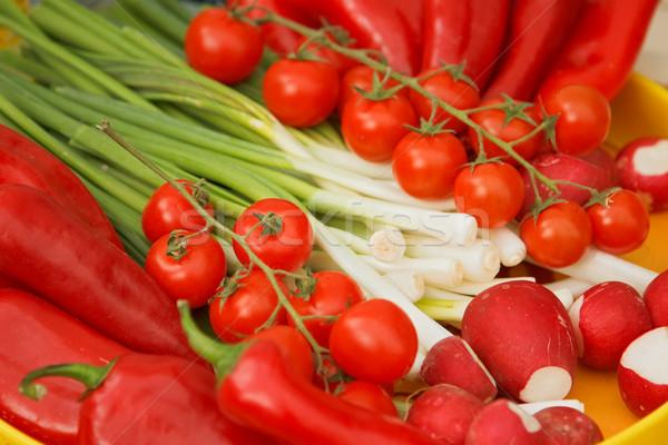 Taze sebze domates biber yeşil soğan sebze biber Stok fotoğraf © icefront