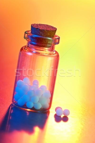 Homeopatik ilaç yakın görmek renkli ışık Stok fotoğraf © icefront