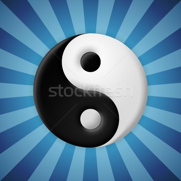 Yin yang symbol on blue rays background Stock photo © icefront