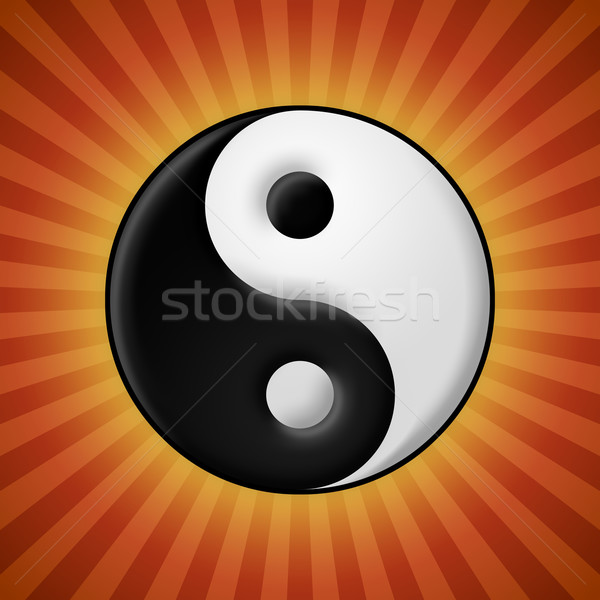 Stock photo: Yin yang symbol on red rays background
