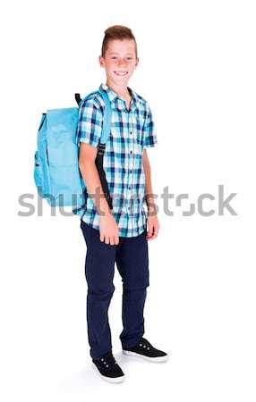 Foto stock: Escolas · amanhã · estudante · azul · camisas · mochila