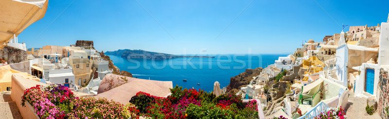 Panorama aldeia santorini ilha colorido casas Foto stock © icefront