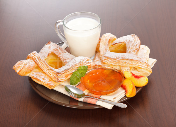 Peach cake and jam with milk for breakfast Stock photo © icefront