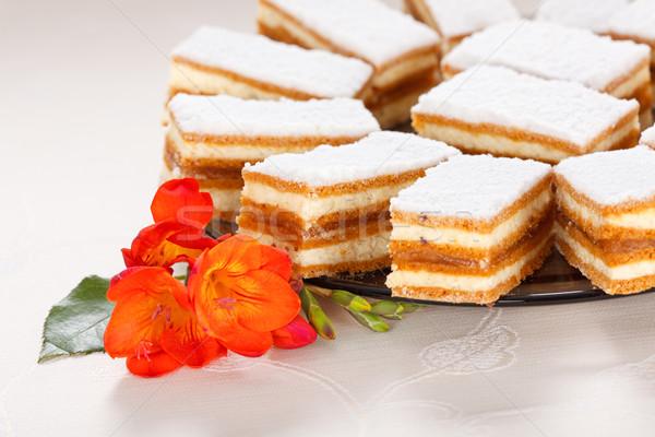 Karamel gebak glas plaat Stockfoto © icefront