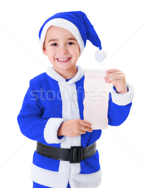 Little blue Santa Claus boy showing wish list Stock photo © icefront