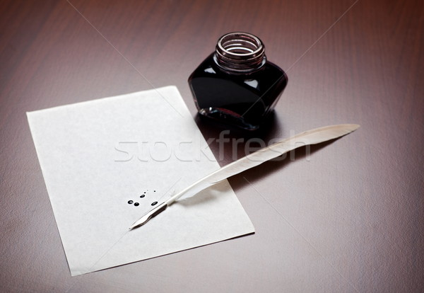 Quill, ink and paper Stock photo © icefront
