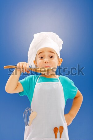 Little chef pointing upward Stock photo © icefront
