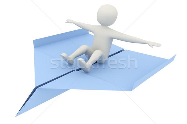 Сток-фото: 3d · человек · Flying · самолет · синий · бумажный · самолетик · свободу