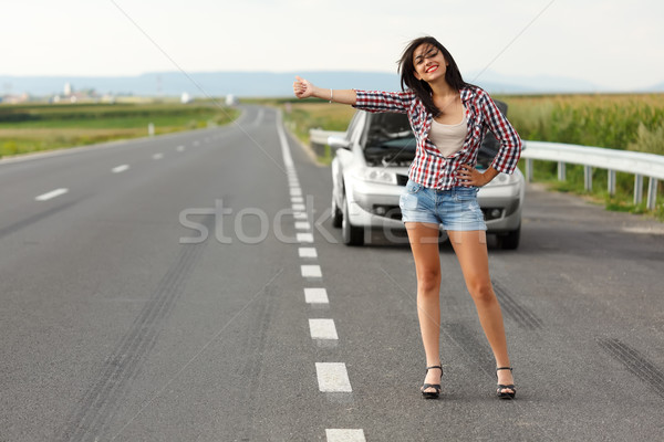 Mulher motorista amavelmente estrada carro quebrado Foto stock © icefront