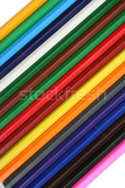 Kolorowy ołówki górę widoku osiemnastu farbują Zdjęcia stock © icefront