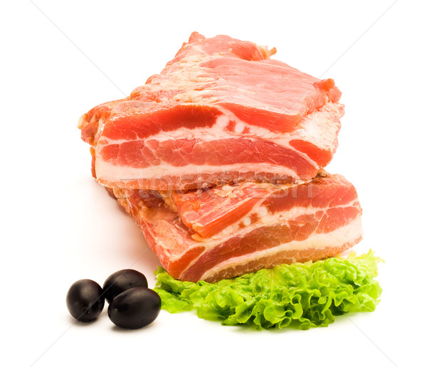 Foto stock: Fumado · bacon · dois · peças · outro
