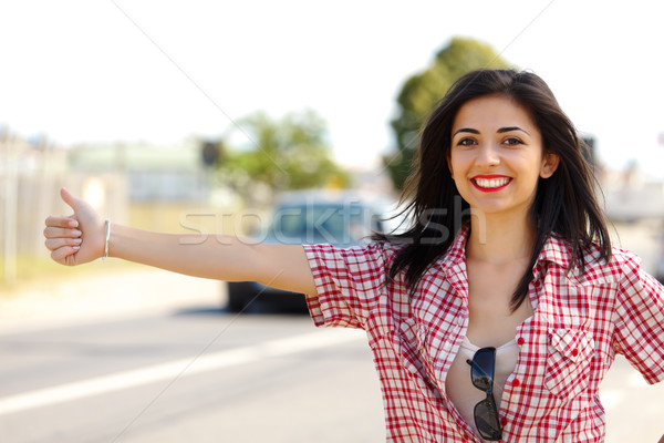 Hitch-hiker Woman Stock photo © icefront