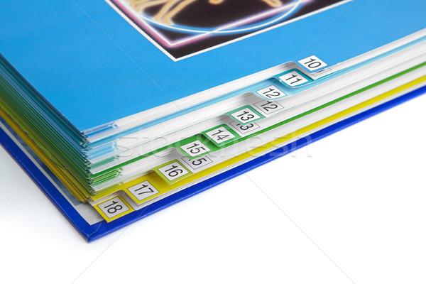 Katalógus makró könyvjelzők könyv kék szám Stock fotó © icefront