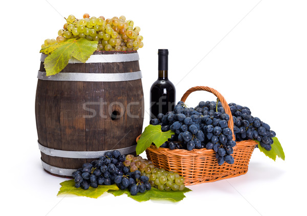 White and blue grape in basket with barrel Stock photo © icefront