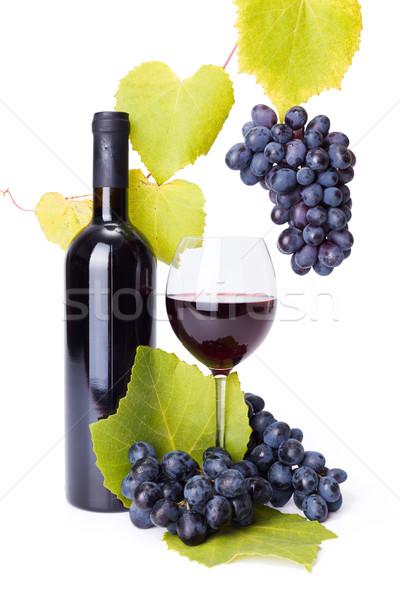 ボトル ガラス 赤ワイン ブドウ ワイン 葉 ストックフォト © icefront