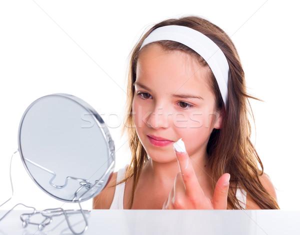 Stockfoto: Tienermeisje · gezicht · tienermeisje · naar · spiegel · meisje