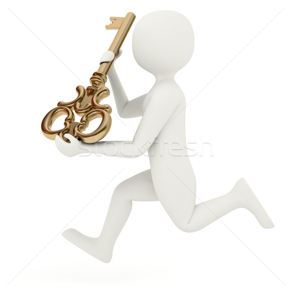 3d man running with big key Stock photo © icefront