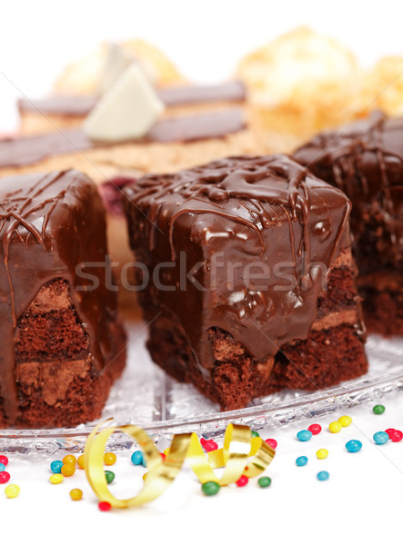 Cake chocolade glans plaat Stockfoto © icefront