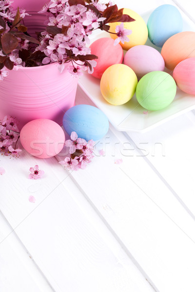 Easter arrangement with peach flowers Stock photo © icefront