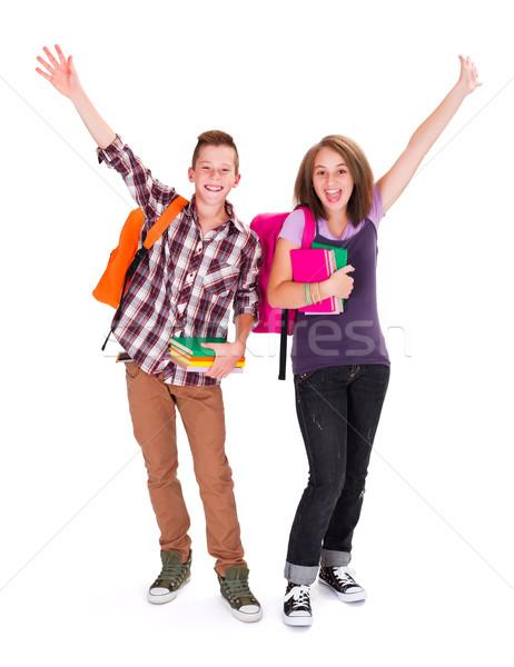 Blijde studenten rugzak boeken handen juichen Stockfoto © icefront