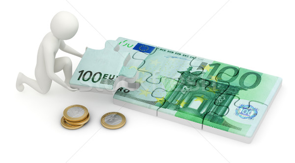 3d man assembling euro puzzle Stock photo © icefront