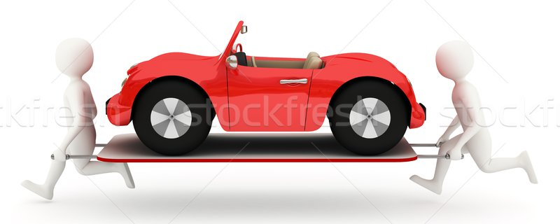 White men running with car on stretcher Stock photo © icefront