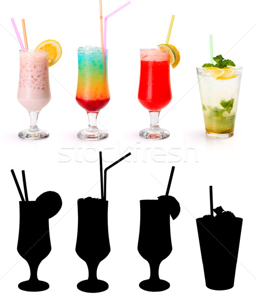 Various non-alcoholic cocktails and their rtansparency mask Stock photo © icefront