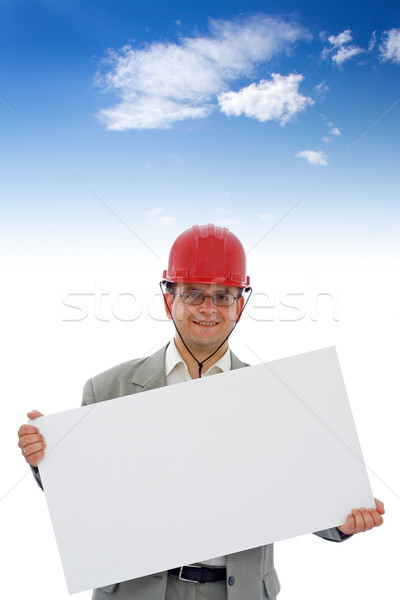 építkezés mérnök mutat információ tányér szép Stock fotó © icefront
