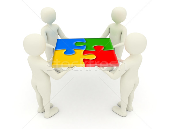 3d men holding assembled jigsaw puzzle pieces Stock photo © icefront