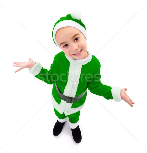 Funny nino verde papá noel uniforme Foto stock © icefront