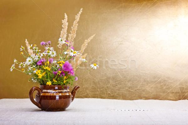 Wildblumen Still-Leben rustikal Blumen Kunst Jahrgang Stock foto © icefront