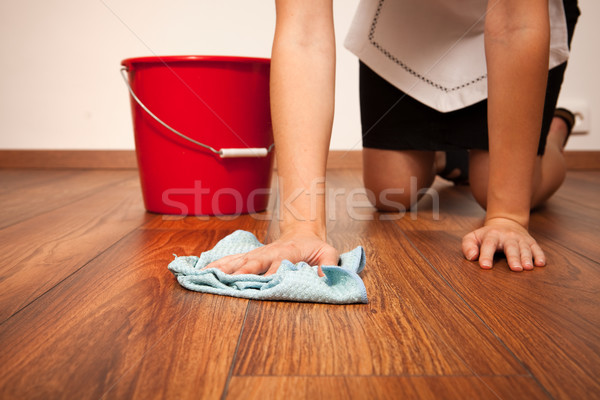 Padló takarítónő takarítás kék ruha nő Stock fotó © icefront