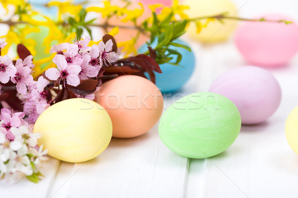 Easter eggs and blooming branch Stock photo © icefront