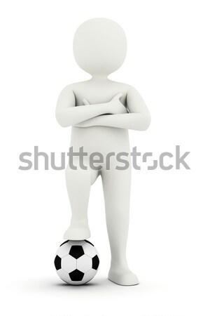 3d man ayak futbol topu ayakta silah Stok fotoğraf © icefront
