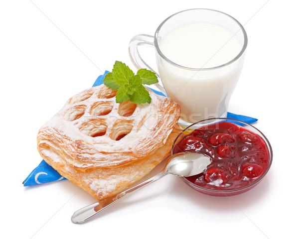 Fanyar cseresznye torta lekvár csésze tej Stock fotó © icefront