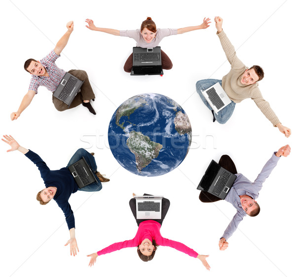 Happy social network members around the globe Stock photo © icefront