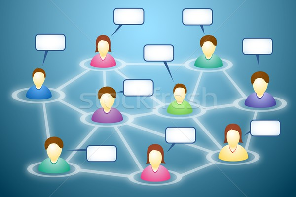 Social network members with text clouds Stock photo © icefront