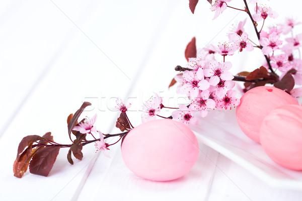 Húsvét egyezség rózsaszín festett tojások barack Stock fotó © icefront