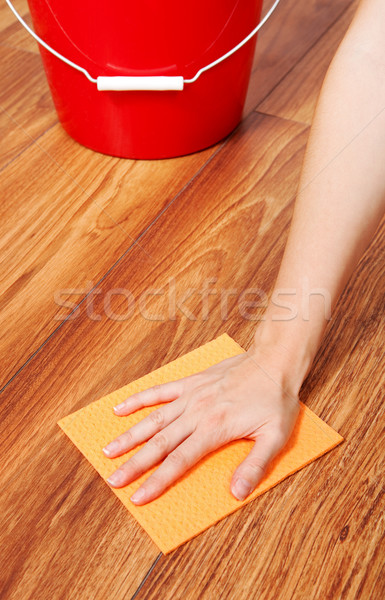 полу очистки стороны желтый губки женщину Сток-фото © icefront