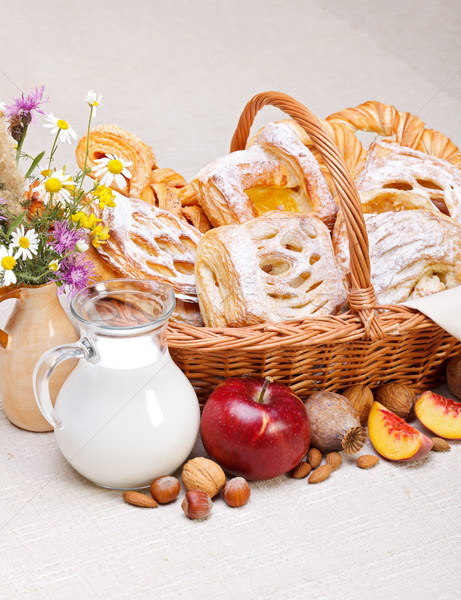 Sweet cakes in basket, fruit and milk decoration Stock photo © icefront
