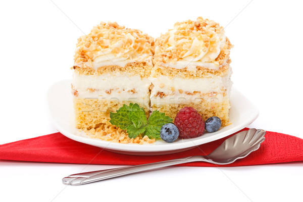 Whipped cream cake garnished with berries Stock photo © icefront