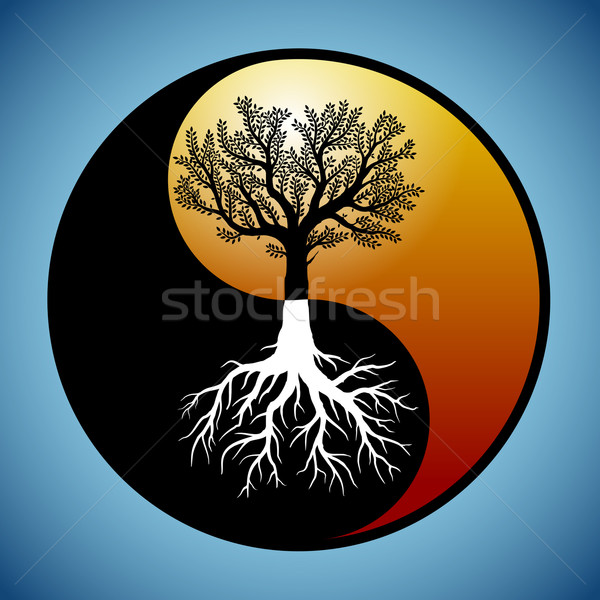 Tree and it's roots in yin yang symbol Stock photo © icefront