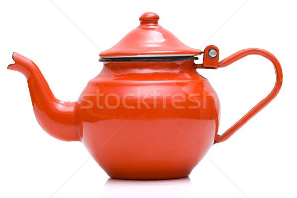 Oude theepot Rood metalen geïsoleerd witte Stockfoto © icefront