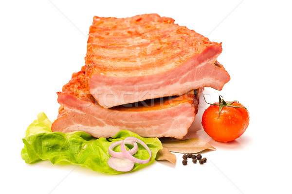 Raw pork ribs cut in half Stock photo © icefront