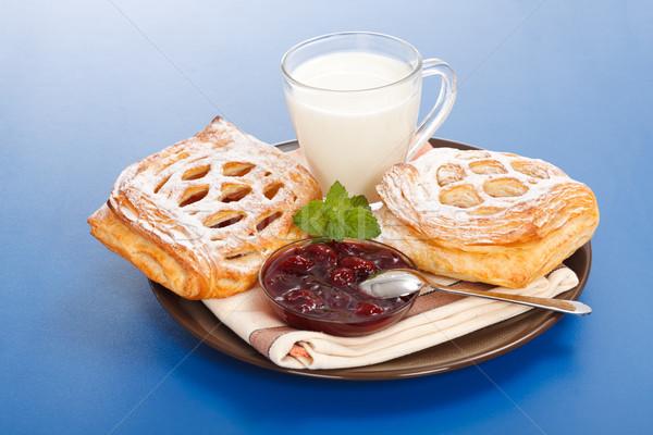Sour cherry cake, jam and milk Stock photo © icefront