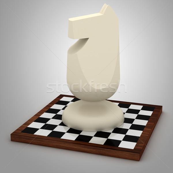 Büyük şövalye at satranç tahtası kavga oynamak Stok fotoğraf © icefront