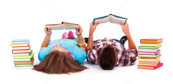 Ragazzi lettura libri piano libro Foto d'archivio © icefront