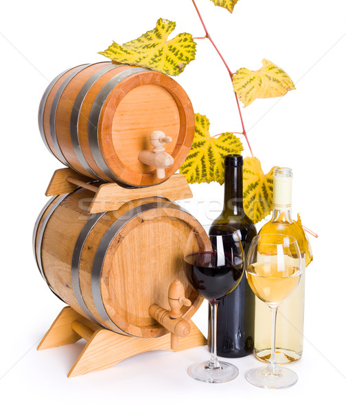 White and red wine in front of stacked barrels Stock photo © icefront